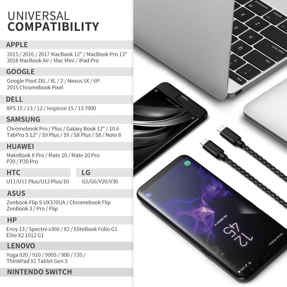 UGREEN Cable USB C a USB C 2 Metros Carga Rápida PD 20V 3A Compatible Thunderbolt 3 Cargador Tipo C para Macbook Pro 2016 2017 iMac, Xiaomi Notebook ...
