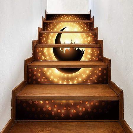 Kang Pegatina de Pared Extraible e Impermeable PVC Decoración habitación bebé niños Luna Mezquita Musulmana Estrecha Escalera Paso Creative: Amazon.es: Hogar