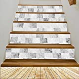 """vanfan 3D Creative Backdrop gray marble brick wall and white wood slabs arranged in perspective texture b DIY Refurbished Stairs Stickers Removable Waterproof Stairs Mural(39.3""""w x 7""""h x 6PCS)"""