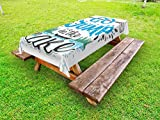 Lunarable Cabin Outdoor Tablecloth, Vintage Typography Inspirational Quote Lake Sign Canoe Fishing Sports Theme, Decorative Washable Picnic Table Cloth, 58 X 84 inches, Blue Black Green