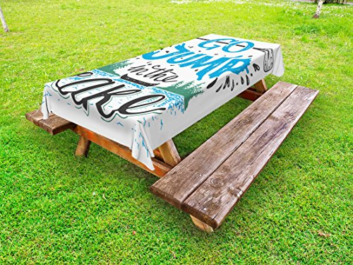 - Lunarable Cabin Outdoor Tablecloth, Vintage Typography Inspirational Lake Sign Canoe Fishing Sports Theme, Decorative Washable Picnic Table Cloth, 58 X 84 inches, Blue Black Green