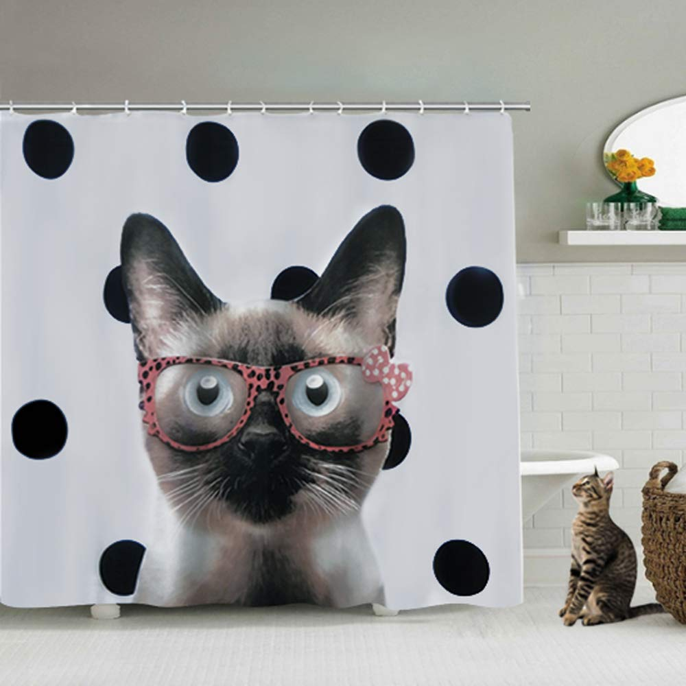 """CASHAY Cute Cat Shower Curtain - Miss Kitty - Funny Shower Curtain Set with Hooks for Girls, Kids, Cat Lovers - Cat Bathroom Decor - 72"""" x 72"""""""