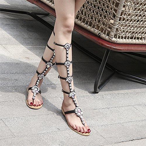 strass bout bottes chaussures de à refroidissent Noir perles plates nouvelles arc leggings 2017 marée bretelles été ouvert mode la wRqr5pCRZ