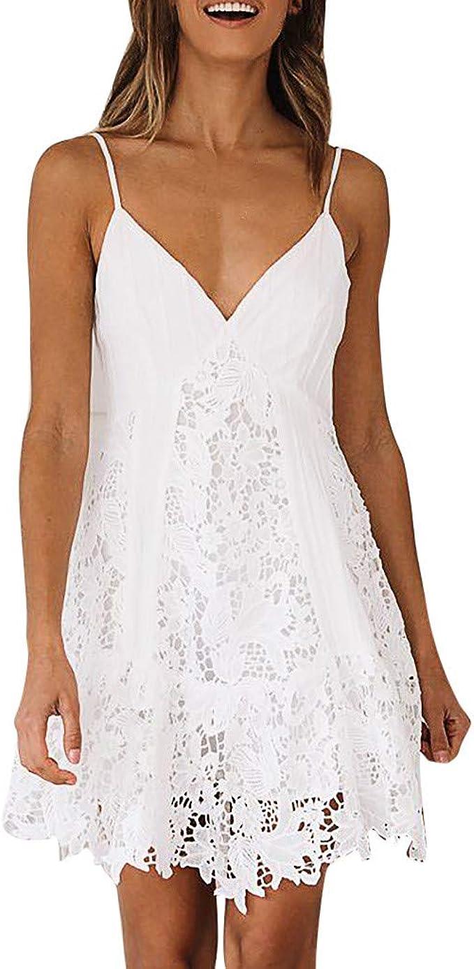 MAYOGO Sommerkleid Damen Kurz Sexy Spitzen Weiß Hollow Out Spagettiträger  Minikleid Elegant Schick Tiefer V-Ausschnitt Rückenfrei Sommer Casual  Empire
