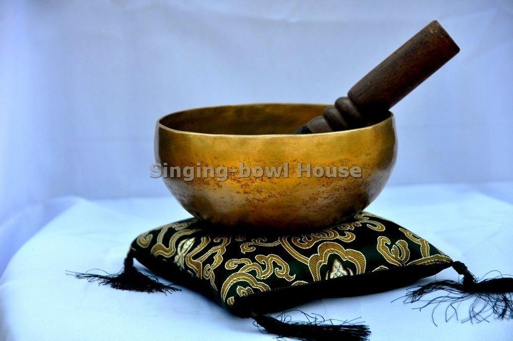 6'' Superb B Crown Chakra Old Tibetan Singing Bowl, Meditation bowls,Hand beaten singing bowl, Handmade bowl from Nepal,Singing bowls. by thamelmart