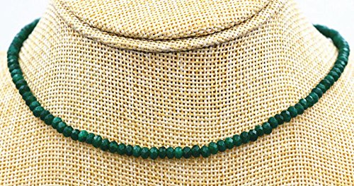 (GENUINE TOP NATURAL 2X4mm FACETED Green Emerald GEMS BEADS NECKLACE 18'' AAA)