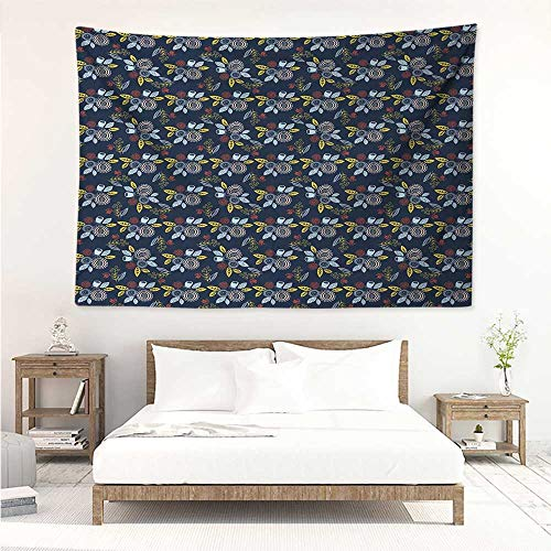 alisos Garden Art,Tapestries for Sale Nature Inspired Hand Drawn Style Bouquets of Flowers Flying Birds on Dark Blue 84W x 70L Inch Mattress, Tablecloth Multicolor ()