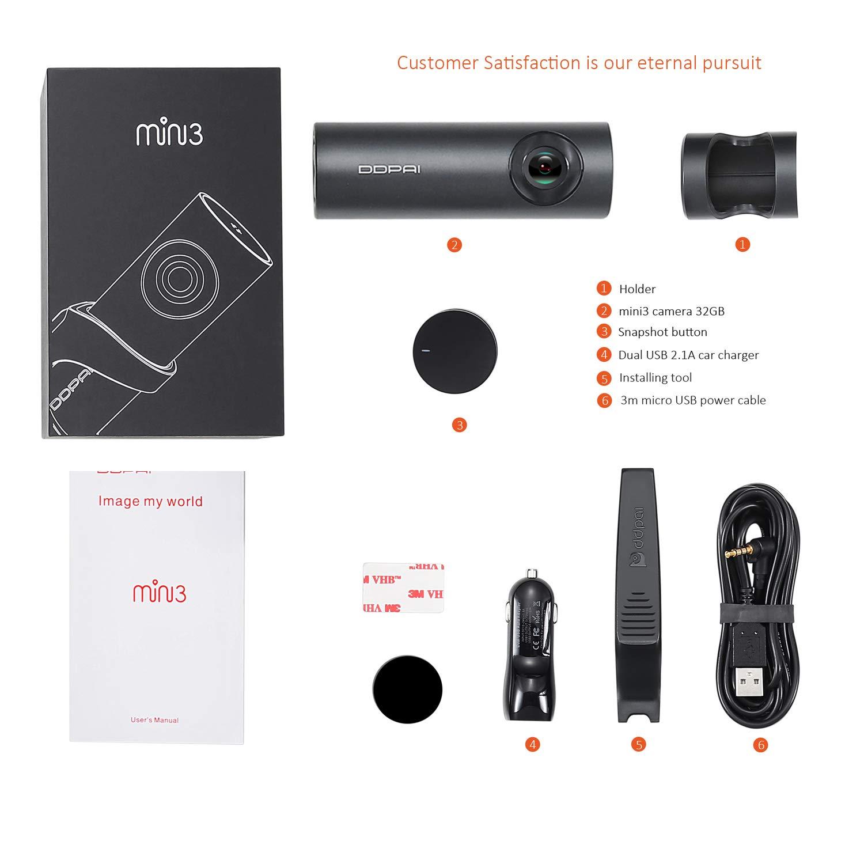 bouton SnapShot capteur G 6 axes 32 Go eMMC rotation /à 360 degr/és DDPai Mini3C Cam/éra embarqu/ée Wi-Fi 1600P pour voiture moniteur de stationnement par 1 FPS supercondensateur