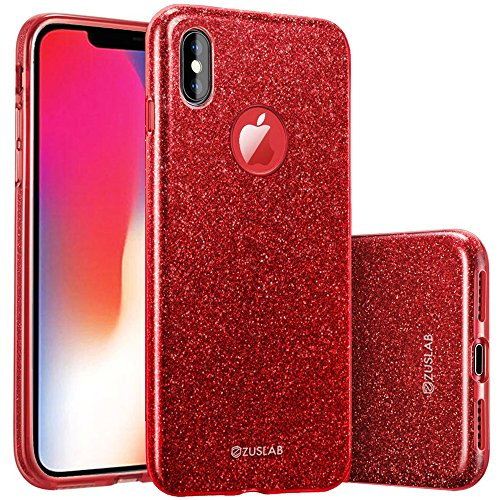 ZUSLAB Bling for Apple iPhone Xs Case (2018) / iPhone X Case (2017) with Glitter Sparkle Thin Soft Flexible Gel Cover - Red