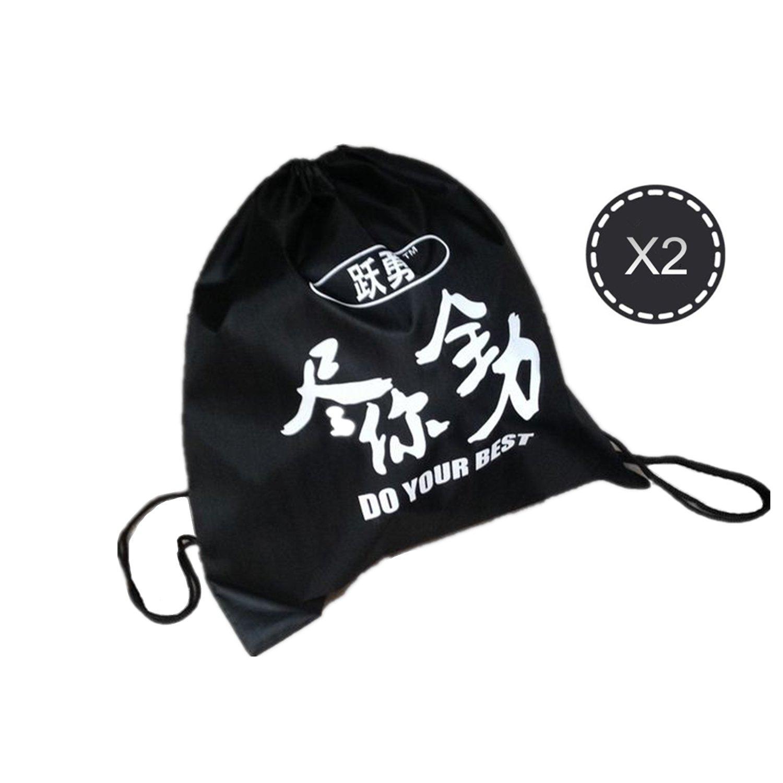 Juego de 2 bolsas de deporte con cremallera de nailon estilo bolsa para baló n de fú tbol o baloncesto (color: negro) DIDI SPORT