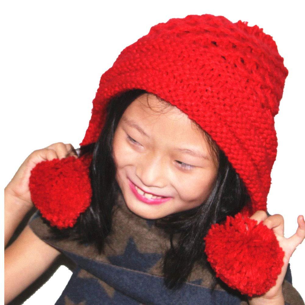 BIBITIME. Handmade Three-Stripes Edge Beanie Cap Warm Pompom Earmuff Knitted Hat B4045 Pompom Beanie Cap