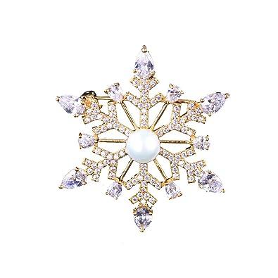 Lazeny Exquisito Copo De Nieve Broche Broche De Perlas Moda ...