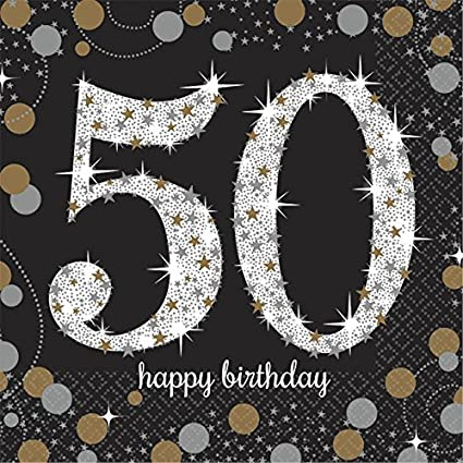 Sparkling Celebration 50th Birthday Beverage Paper Napkins