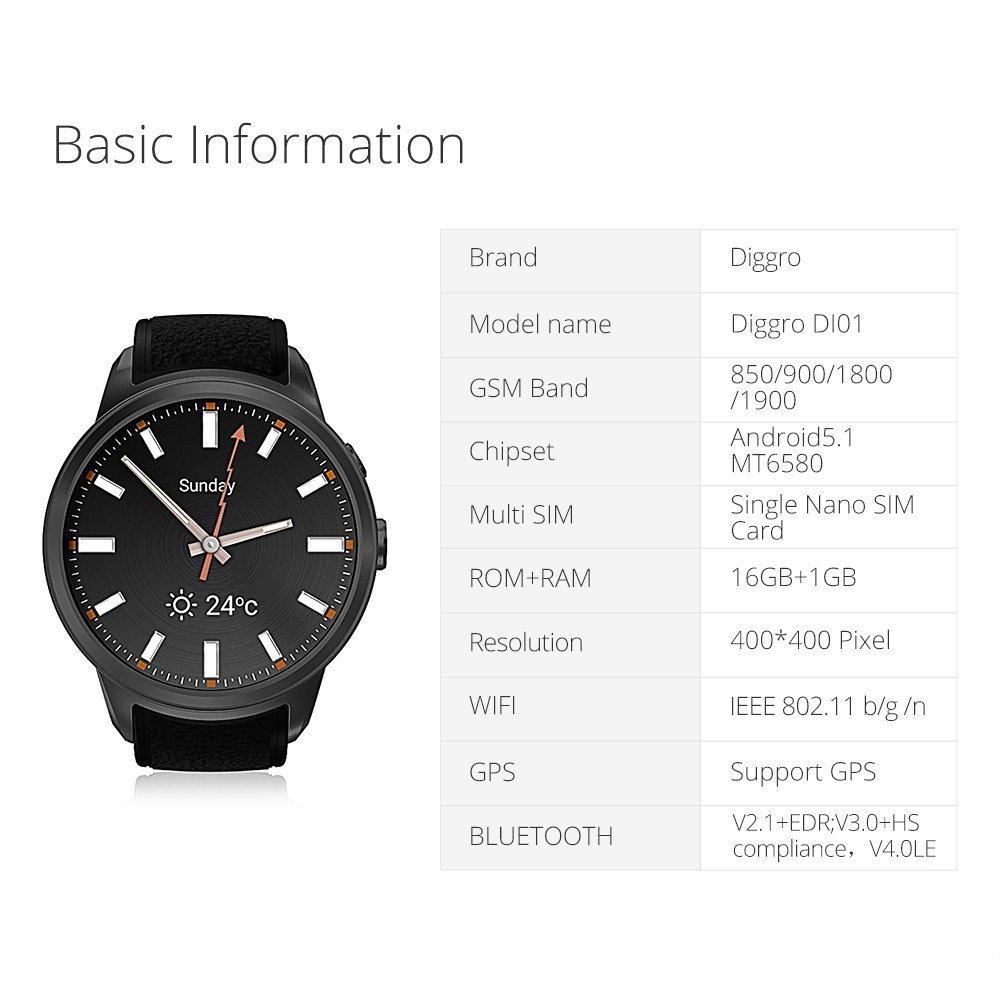 DIGGRO DI01 smart watch Android 5.0 MTK6580 1GB/16GB Nano SIM 3G WIFI 2.0MP reloj inteligente cámara llamada monitor de ritmo cardiaco pedometer ...