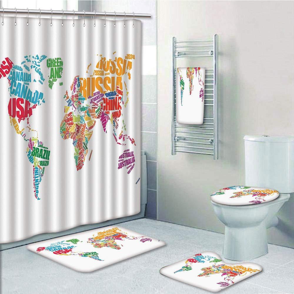 Bathroom Fashion 5 Piece Set shower curtain 3d print,Wanderlust Decor,World Map Made by Names Continents Europe America Africa Asia Graphic Art Decorative,Multi,Bath Mat,Bathroom Carpet Rug,Non-Slip,B by iPrint (Image #1)