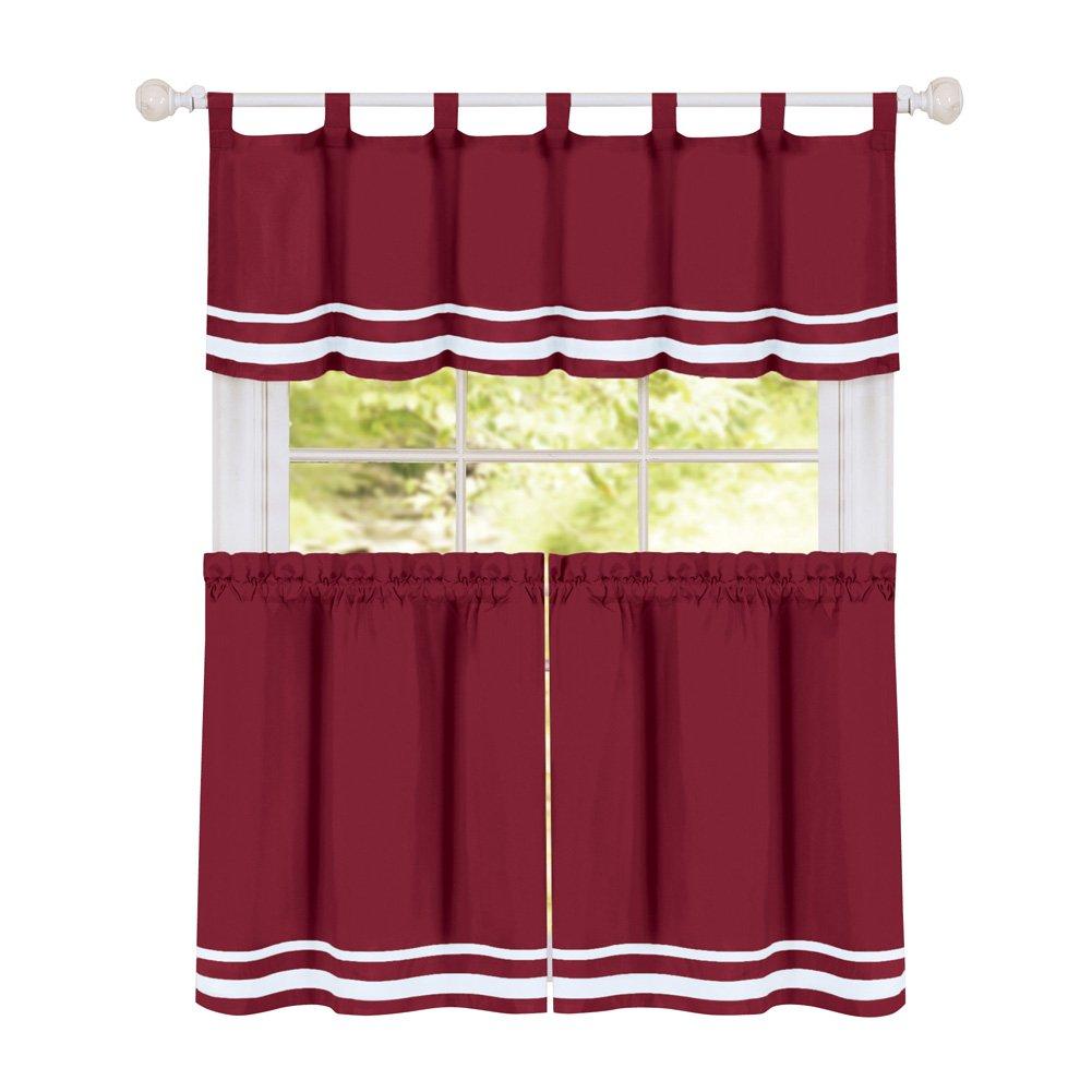 "Collections Etc Dakota Stripe Café Kitchen Curtain Tier Set with Tabbed Valance Topper, Burgundy, 57"" X 24"""