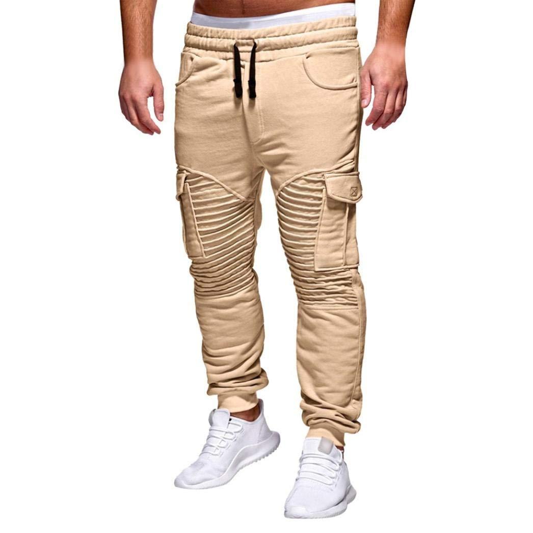 fb5ffd832e Pantalones ZARLLE Hombres Pantalones De Bolsillos con Cremallera CordóN  CláSico Deporte Sudor Pantalones Joggers Pantalones Termicos ...