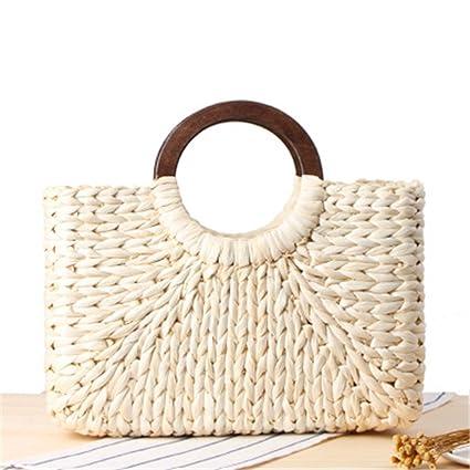 d8be1aa353 Women Vintage Rattan Handbag Female Bohemian Summer Beach Straw Bags Lady  Simple Weave Bag Handmade Casual