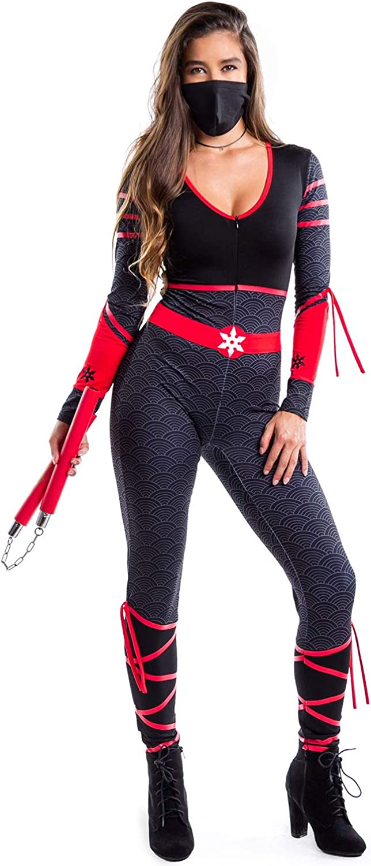 Womens Adult Sexy Ninja Costume - Cute Halloween Ninja Costume Textured Bodysuit
