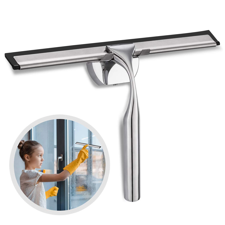 Edelstahl-Rakel Shower Wiper Scraper-Reiniger mit stark haftendem Saugnapfhaken f/ür Badspiegelglasreinigung CLOFY Duschabzieher