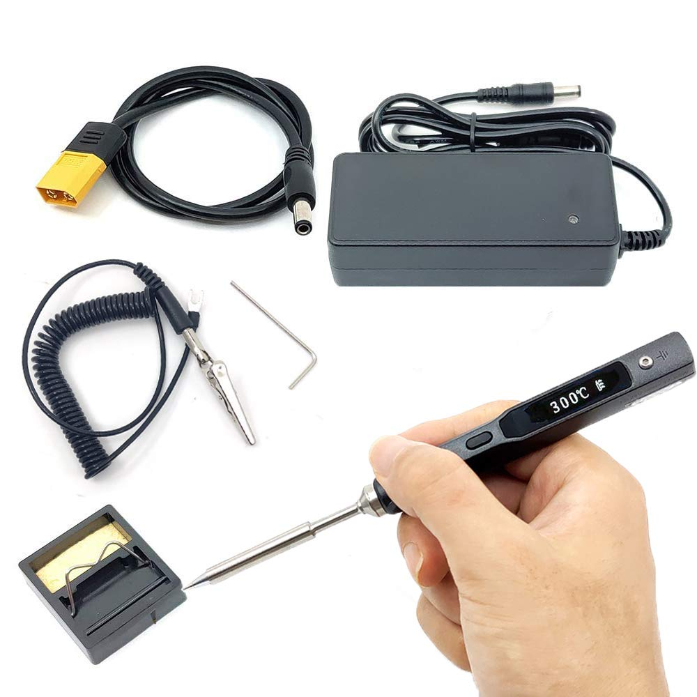 NovelLife 65W Mini TS100 Electric Soldering Iron Kit,Adjustable Temperature,Programmable STM32 Chip,Digital OLED Screen Display with TS B2 Solder Tip,Power Supply,XT60 Power Cord (Black B2 Tip)