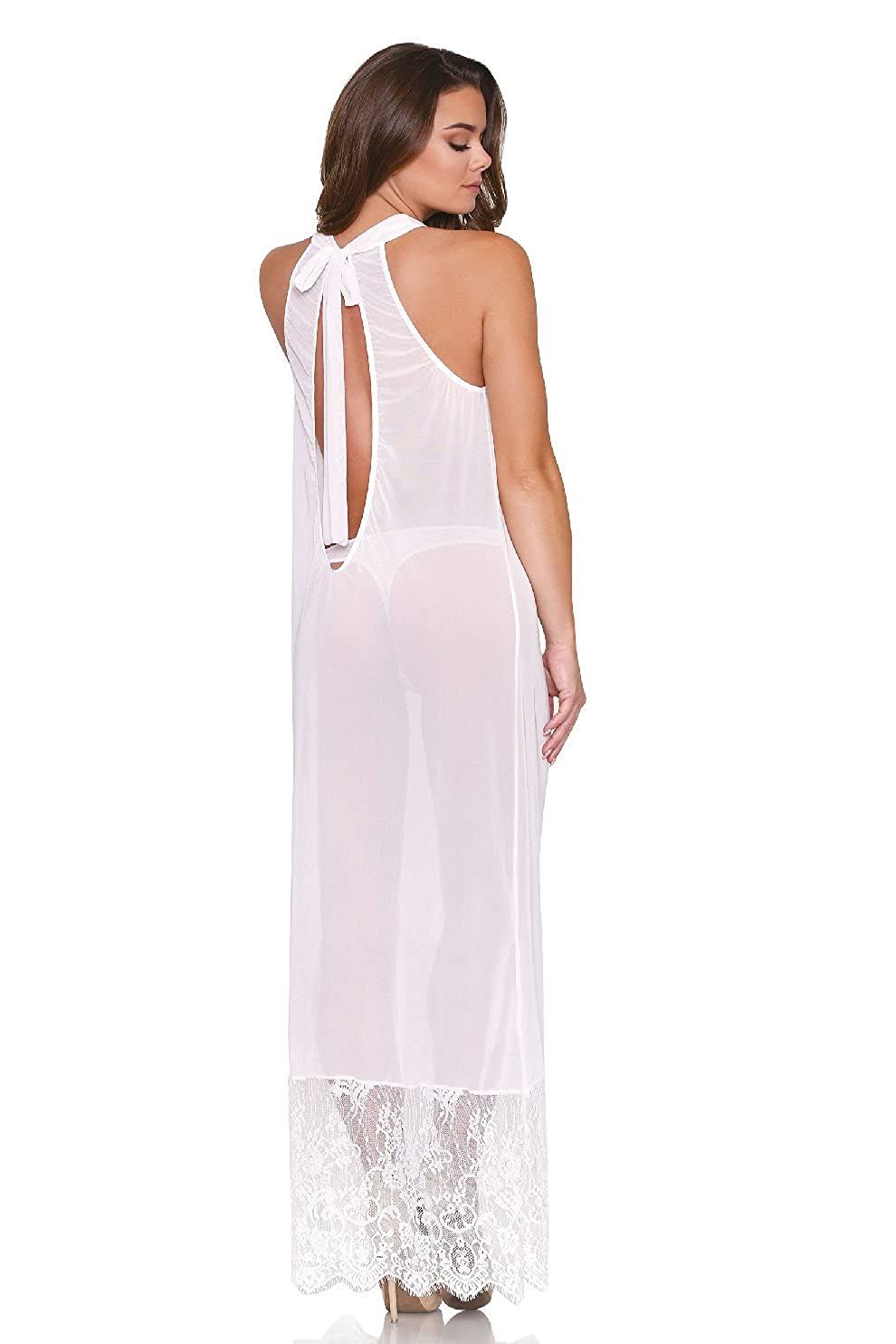 Amazon.com  Tease Women s Long Sheer White Halter Style Nightgown  Clothing bfb8535d9