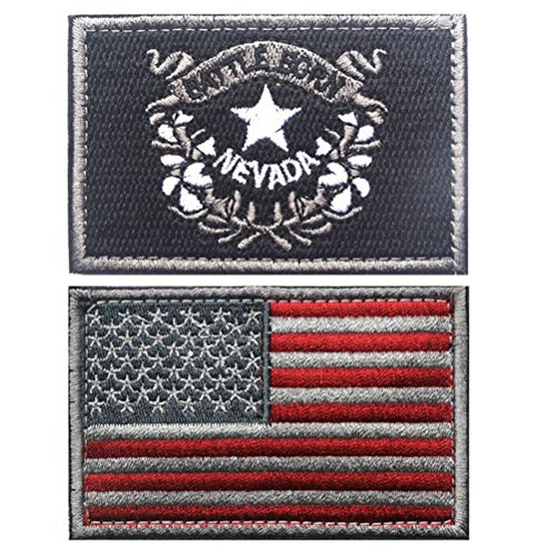 Embroidered USA Flag and NEVADA Flag Velcro Patch