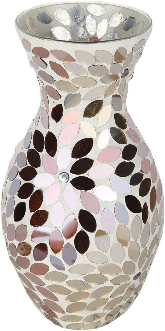 Lily s Home Colorful Mosaic Glass Flower Vase for Flower Centerpieces. 11 Inch Tall Gold Silver