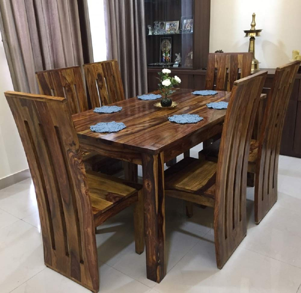 Custom Decor Six Seater Dining Table Set Brown 6 Seater Dining Table Honey Teak With Foster Chair Amazon In Home Kitchen