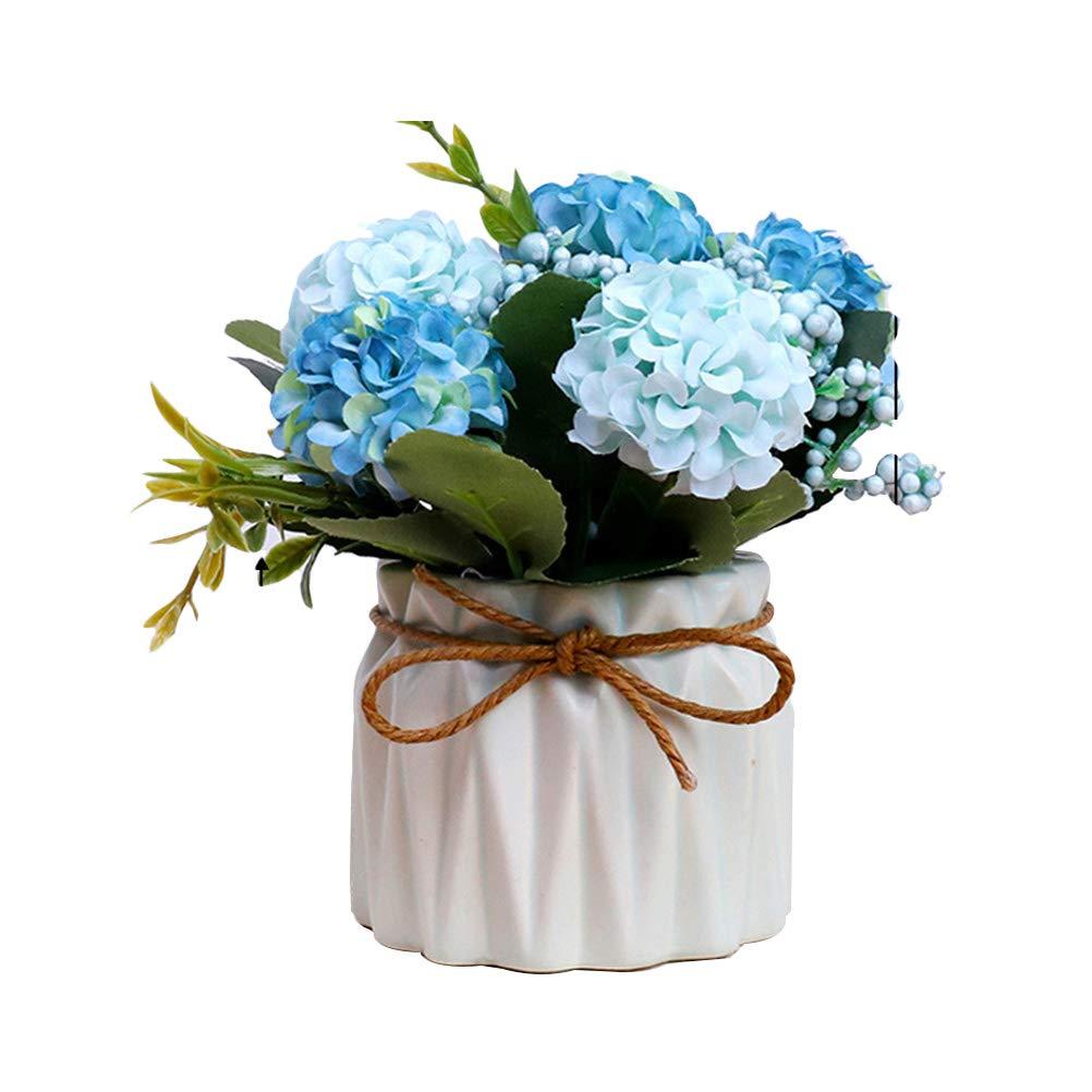 Clispeed Plastica finta rosa finto verde erba simulazione fiori artificiali piante con vasi per nuziale bouquet da sposa per la casa giardino festa nuziale Decor (azzurro)