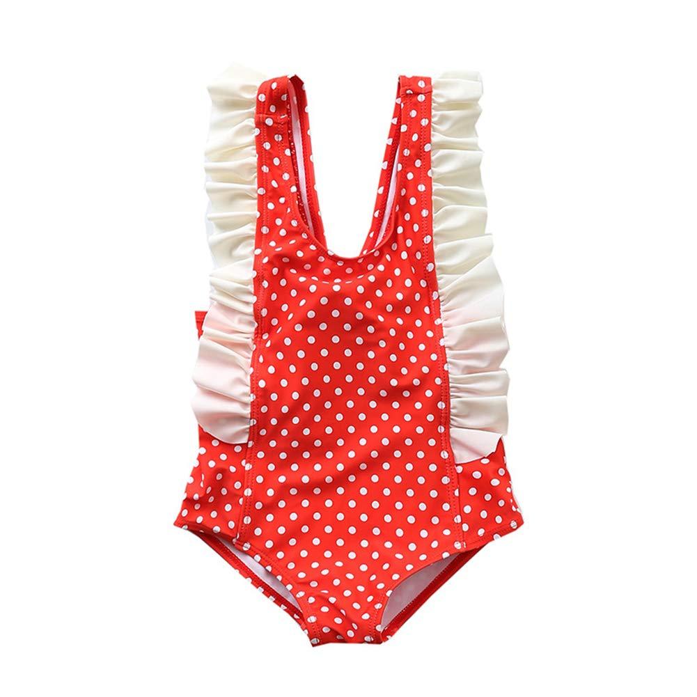 2PCS Baby Kids Girl One Pieces Swimsuits Swim Cap Set Bikinis Dot Bathing Suit Swimwear Beachwear for 1-6Y Girls
