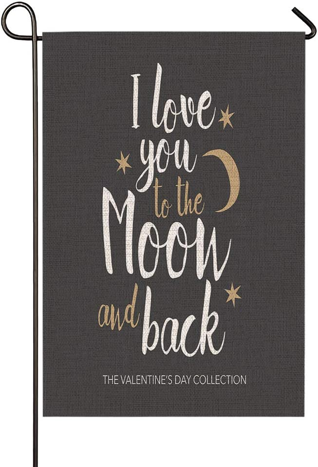 Beabes I Love You to The Moon and Back Garden Flag Star Romantic Love Valentine Date Enjoy Summer Seasonal Garden Flag Outdoor Decorative Double-Sided Cotton Linen 12.5x18 Inch