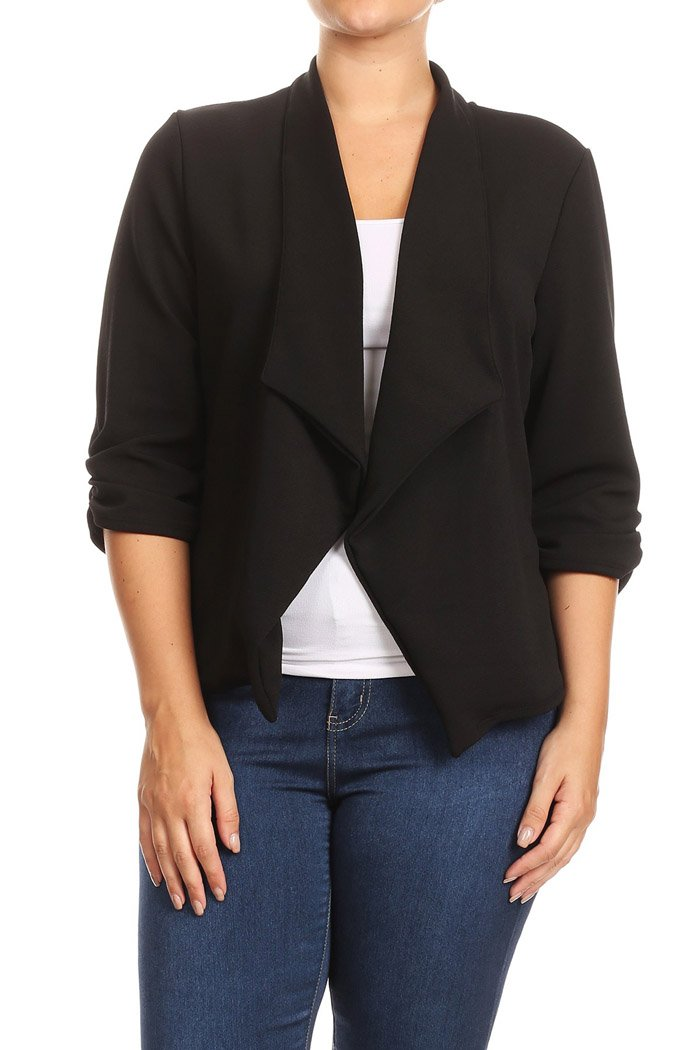 Fashion Stream Women's Plus Size Casual Work Natural Style Blazer Cardigan Made in USA (XX-Large, Black)