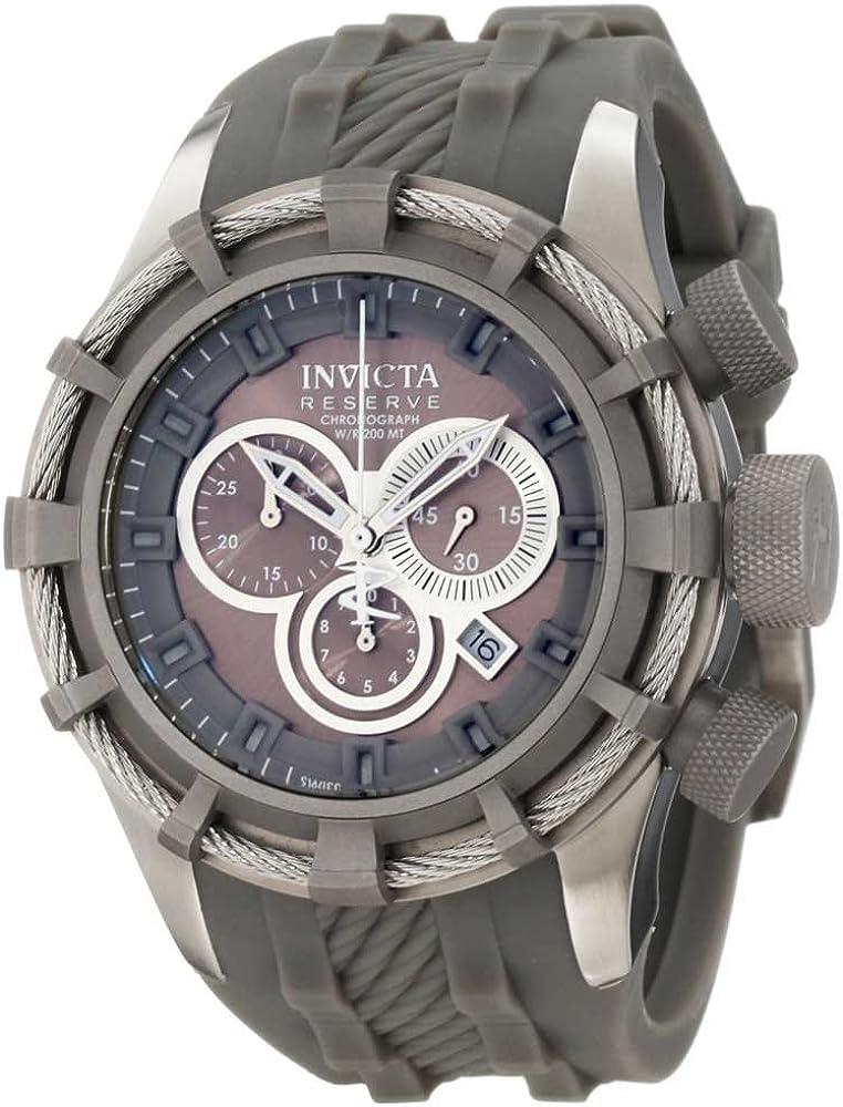 Invicta Men s 1225 Reserve Bolt Chronograph Titanium Tone Dial Titanium Tone Silicone Watch