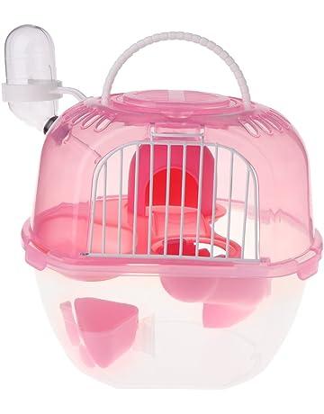 JunYe Hamster Cage Viaje al Aire Libre Portátil Doble Capa Casa de Estar con plástico -