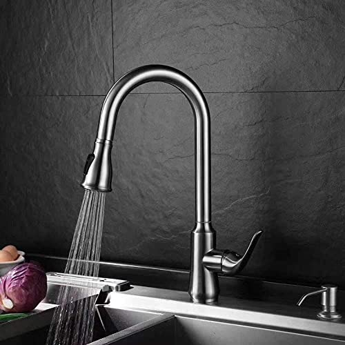 Sanliv Single Handle High Arc Brushed Nickel Pull out Kitchen Faucet, Single Level Stainless Steel Kitchen Sink Faucets with Pulldown Sprayer