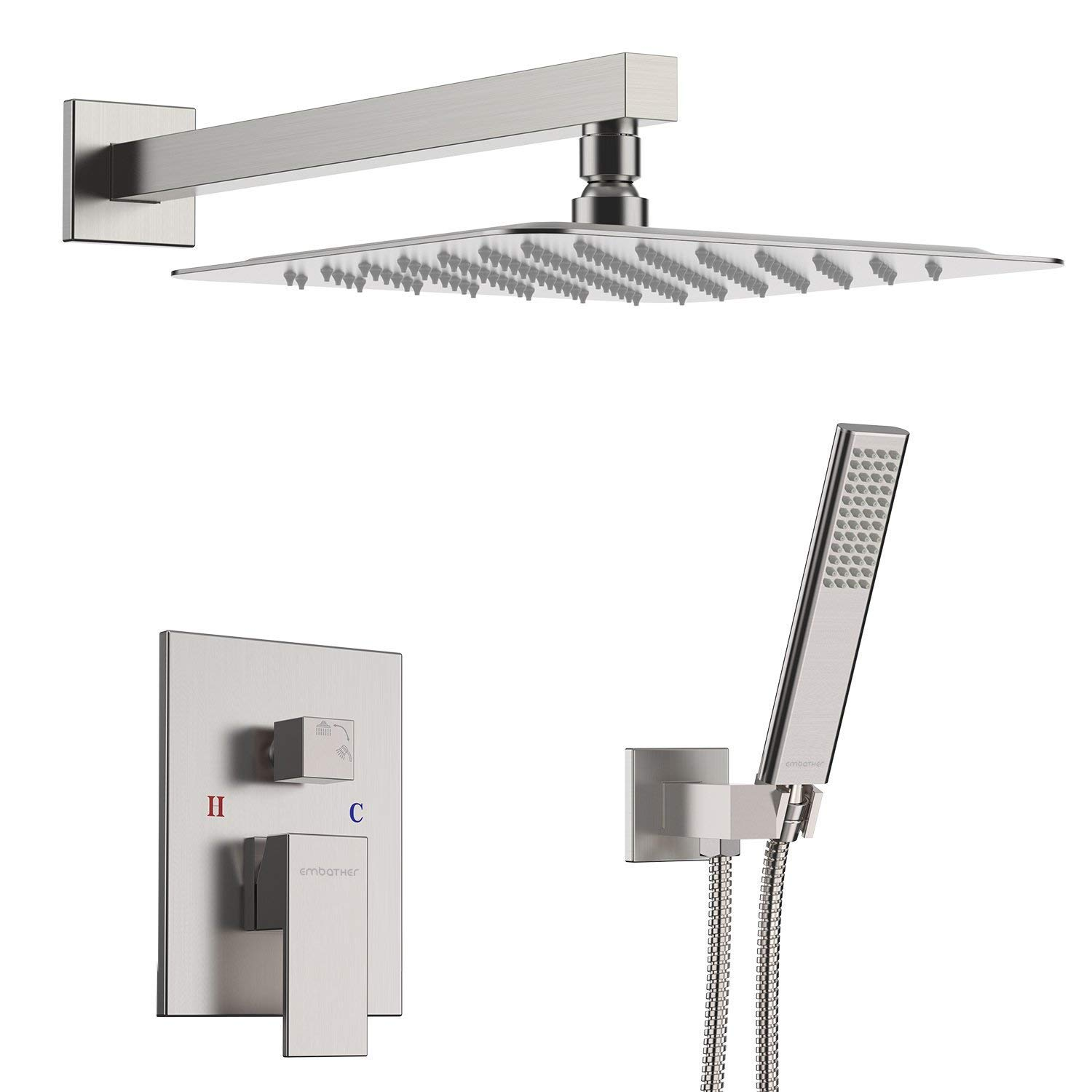 EMBATHER Shower System- Brushed Nickel Shower Faucet Set for Bathroom- State-of-the-art Air Injection Technology- 12'' Square Rain Shower Head- Easy Installation- Eco-Friendly