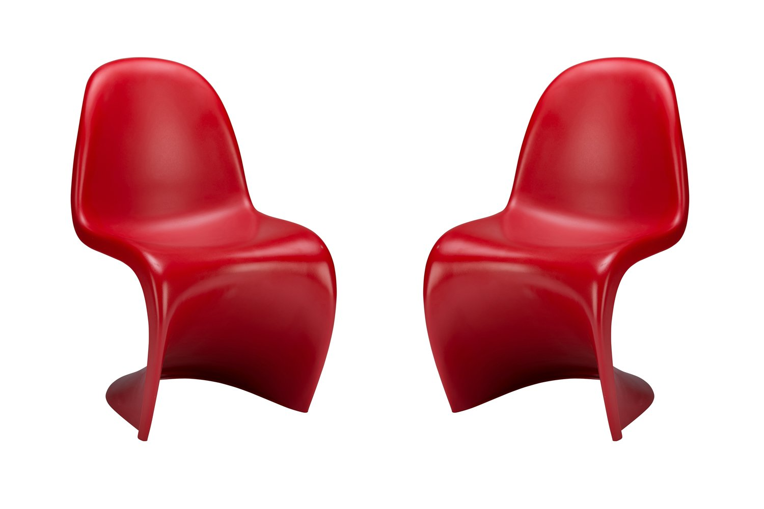 Red Poly and Bark S Chair in Black (Set of 2)