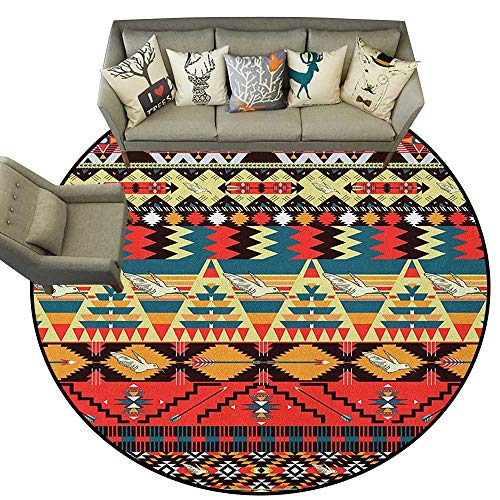 Native American,Rug Classic Traditional Aztec Pattern Image Bird Flower Arrow Natural Ethnic D40 Soft Living Room Bedroom Round Carpet ()