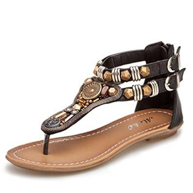 Ouneed® Damen Zehentrenner ,Sommer Flache Sandalen Roman Female Zipper Low Heels Sandalen Flip Retro (39, Braun)