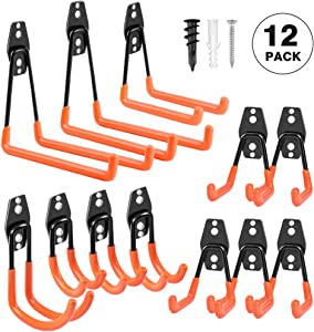 Garage Hooks Heavy Duty, Steel Garage Storage Hooks, Tool Hangers for Garage Wall Utility Wall Mount Garage Hooks and Hangers with Anti-slip Coating for Garden Tools, Ladders, Bulky Items (Pack of 12)