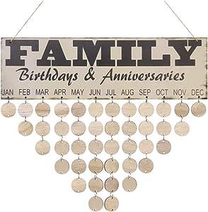 VORCOOL Family Birthday Board Plaque DIY Hanging Wooden Birthday Reminder Calendar with 50 Round Discs