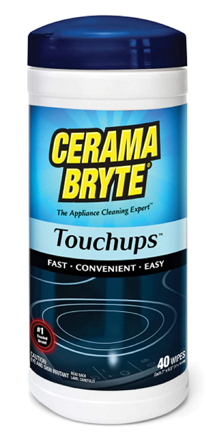(2 Pack) Cerama Bryte Touchups Wipes Ceramic Cooktop Cleaner, 2 x 40-ct (Original Version)