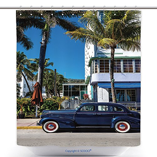 vanfan-Polyester Shower Curtains Classic American Car On South Beach, Miami_ Polyester Bathroom Shower Curtain Set With Hooks(60 x 72 - To Valdosta Miami