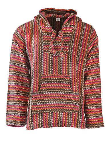 Funny Guy Mugs Premium Baja Hoodie Sweatshirt Pullover Jerga Poncho (Hot Lava, Medium)
