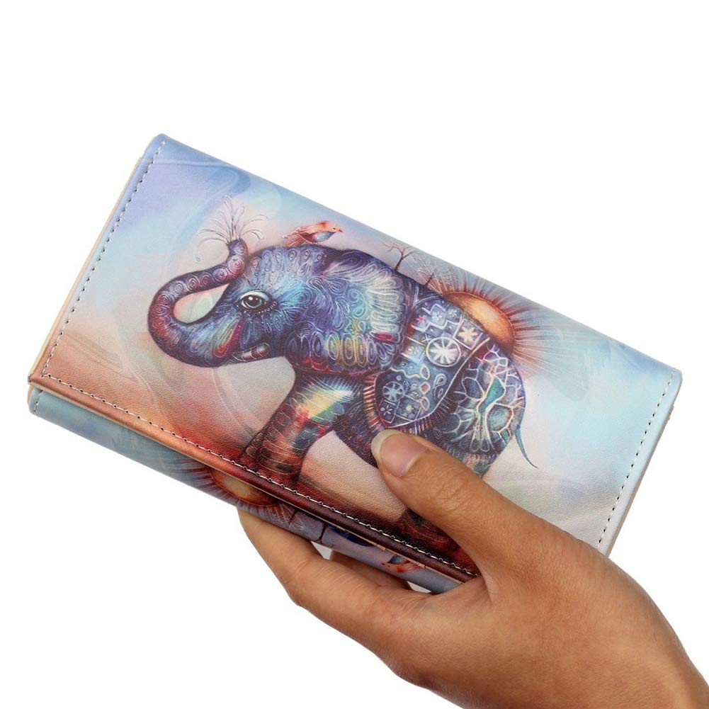 YUnnuopromi Exotique éléphant Imprimé Animal Simili Cuir Long Purse Carte Cash Support #2