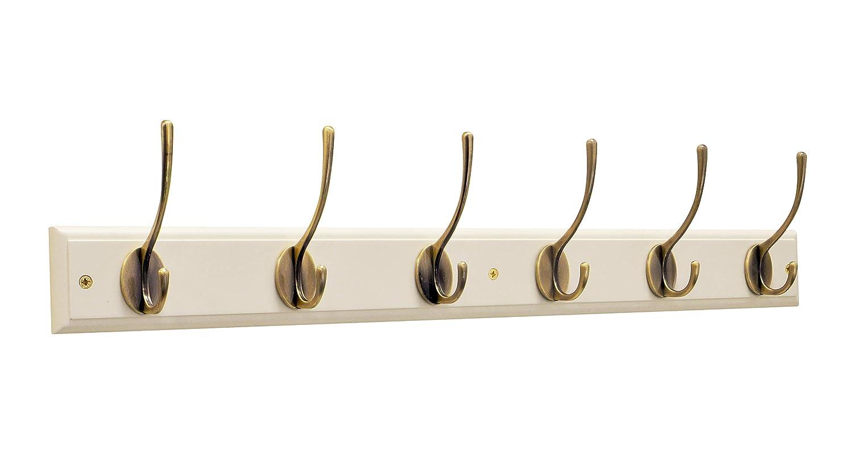 Color Blanco Keypak Perchero de Pared con 2 Ganchos Madera