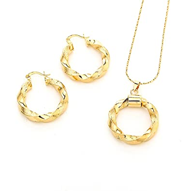 2af89e06f7 Dubai Gold Ethiopian Necklace Pendant Earrings African Sets For Israel  Sudan Arab Middle East Women (