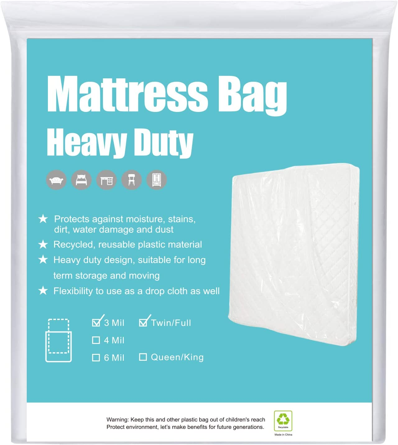 2-Pack 2 Mil Thick Mattress Bag for Moving Storage Protection Twin//Full Sized