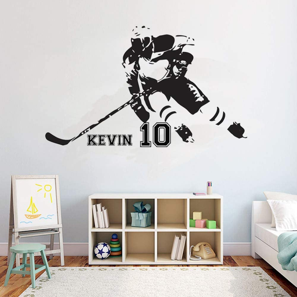 Hockey personalized name wall decal quote quote field ice hockey sport quote girl boy teenager room wall decoration vinyl sticker home and garden sticker 69x42cm